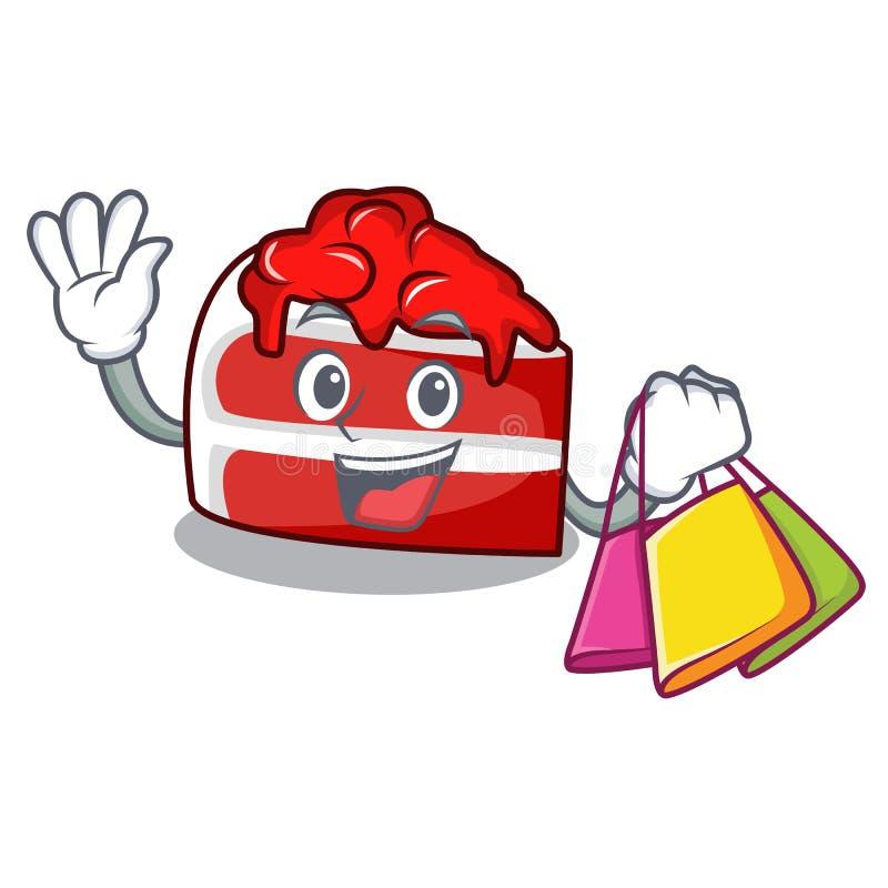 Shopping red velvet character cartoon vector illustration