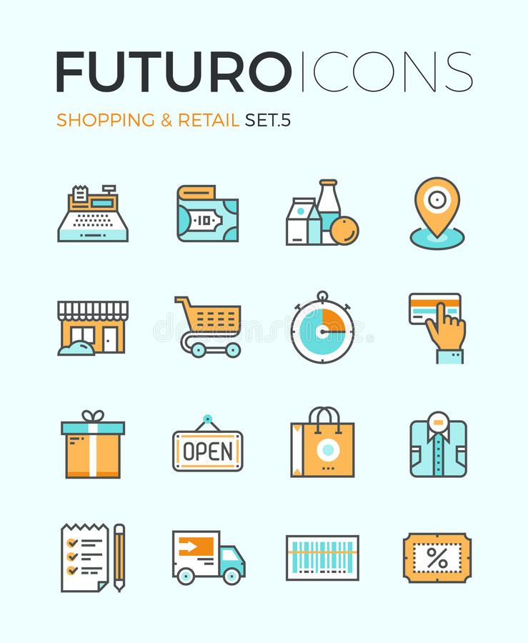 Shopping and retail futuro line icons vector illustration