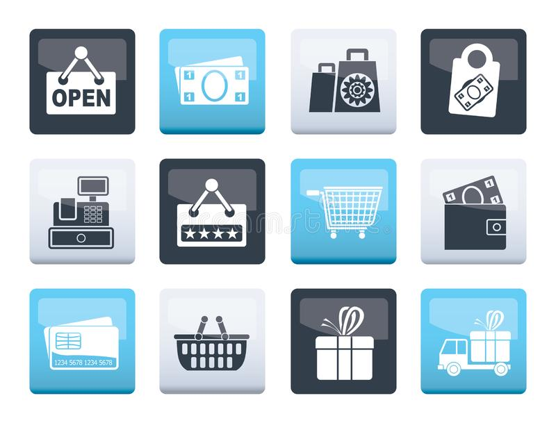 Shopping and retail icons over color background. Vector icon set royalty free illustration