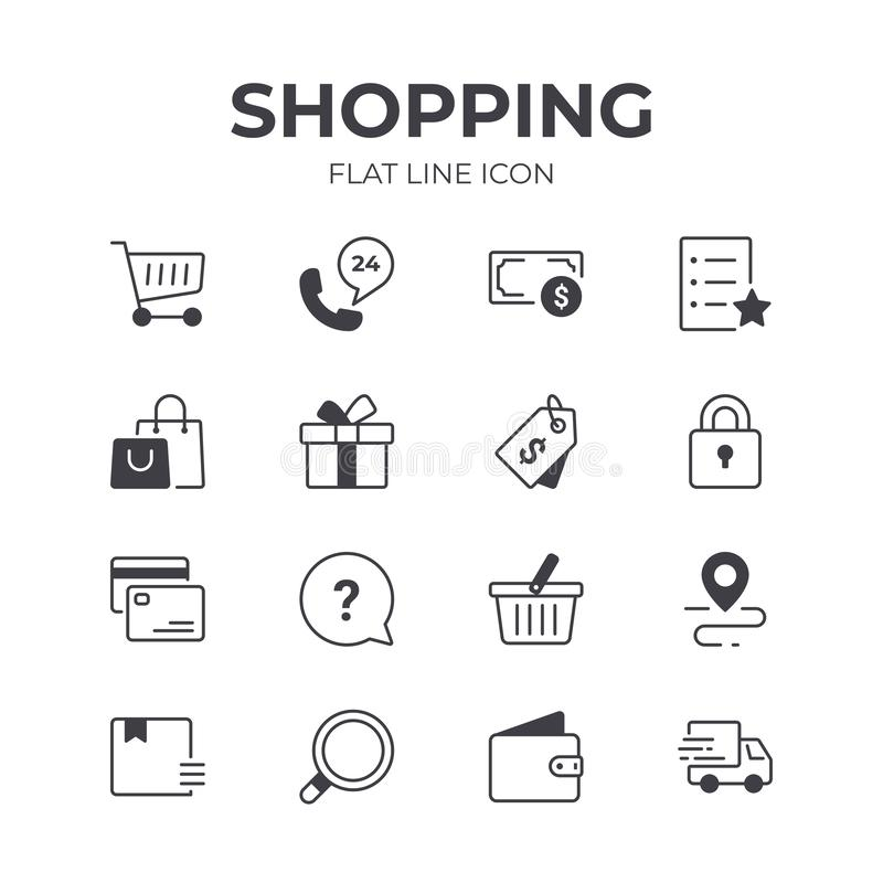 Shopping and Retail Icons Set. Set of Shopping and Retail Vector Icons. Contain Icons as Payment, Checkout, Basket and more. Pixel Perfect stock illustration