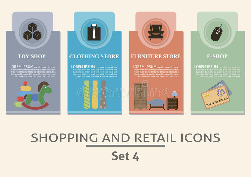 Shopping and retail labels. Set for you design stock illustration