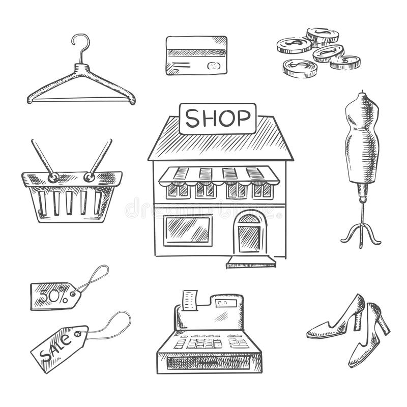 Shopping and retail sketch icons royalty free illustration