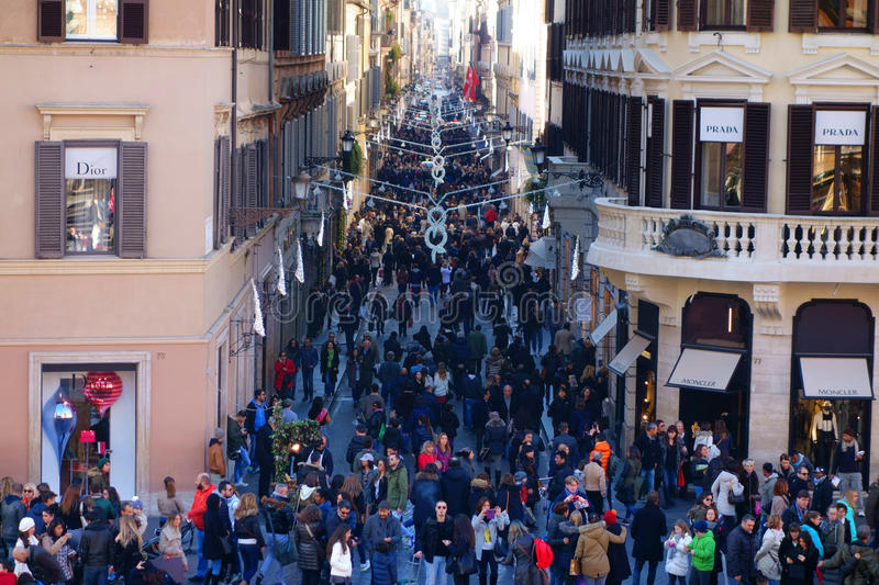Shopping Rome Italy Christmas Time royalty free stock images