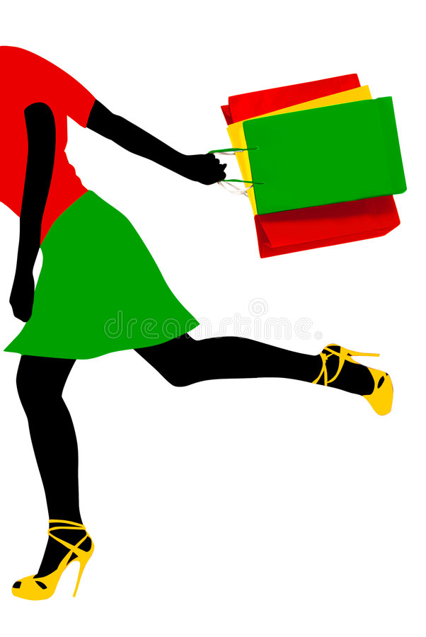 Download Shopping running girl stock illustration. Image of shopping - 5716959
