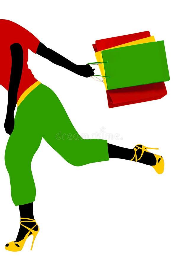 Download Shopping running girl stock illustration. Illustration of illustration - 5717001