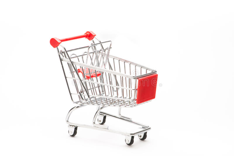 Shopping's caddy. On white background royalty free stock photo