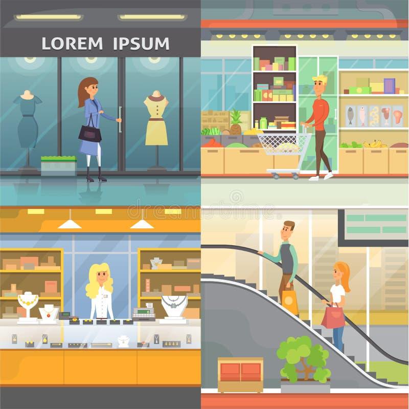 Shopping, salas do boutique e ourivesaria Coleção dos interiores do supermercado Povos em uma alameda Compra ajustada ilustração royalty free