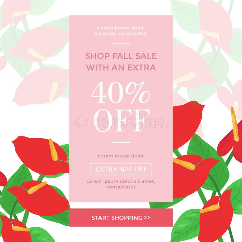 Shopping sale banner templates with tropical flowers. Isolated vector design special halloween day format suport file eps 10. thankyou for downloading royalty free illustration
