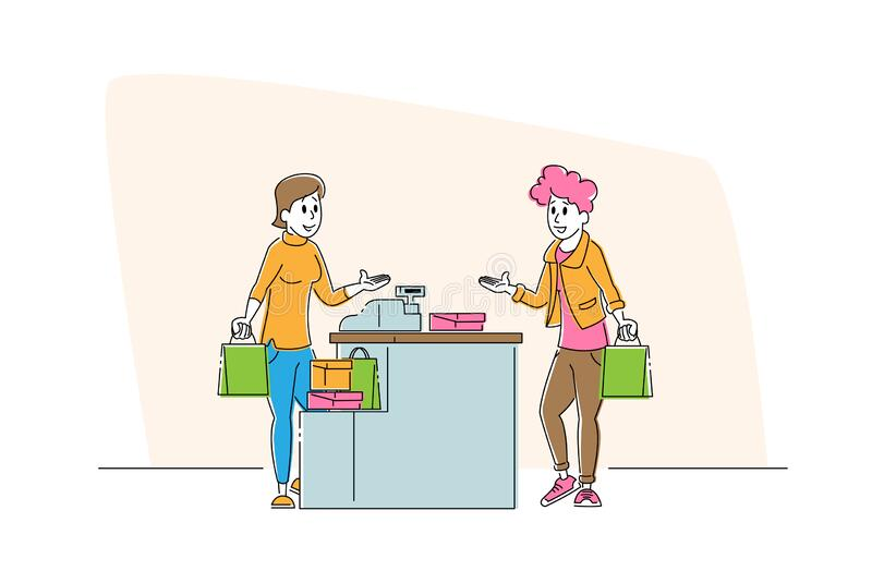 Shopping Sale, Consumerism. Female Customer Character with Goods in Paper Bag Stand in Supermarket or Boutique. At Cashier Desk with Seller Paying for Purchase stock illustration