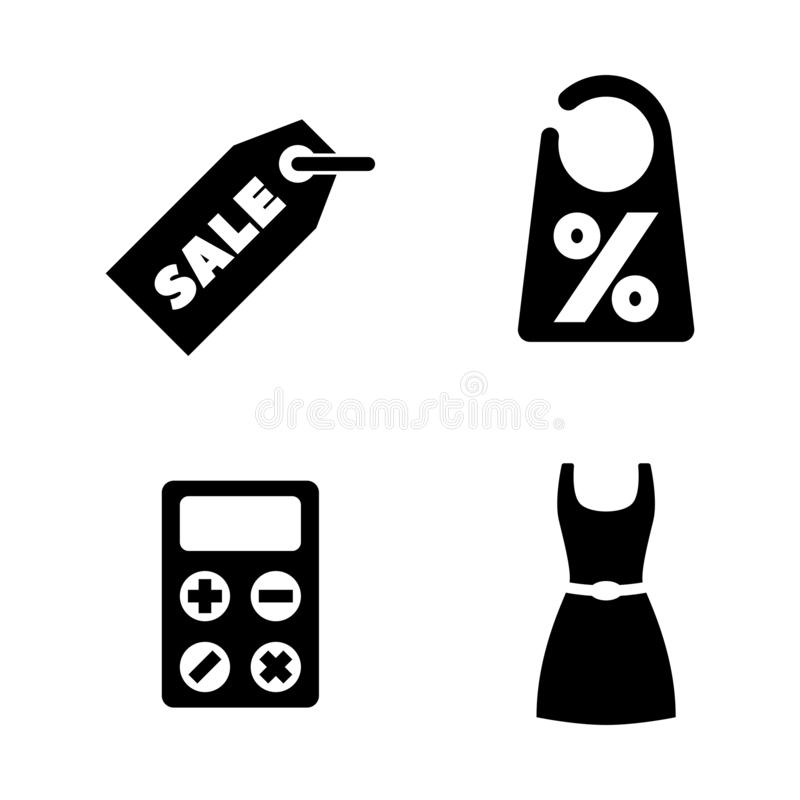 Shopping, Sale, Discount. Simple Related Vector Icons. Set for Video, Mobile Apps, Web Sites, Print Projects and Your Design. Shopping, Sale, Discount icon stock illustration
