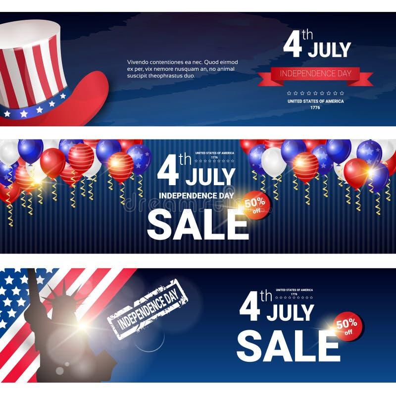 Shopping Sale till för Juli för Förenta staternasjälvständighetsdagenferie 4 uppsättningen för baner rabatt vektor illustrationer