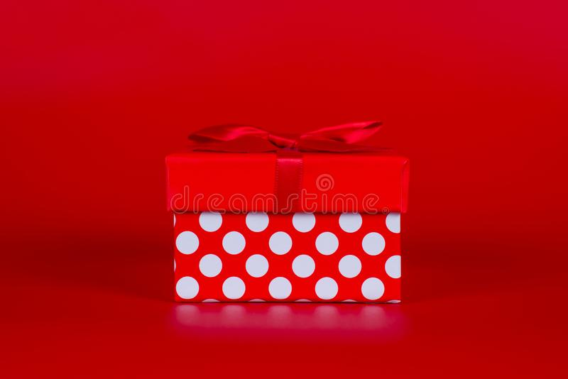 Shopping sales discount getaway concept. Closeup photo of cute tiny nice beautiful present box isolated over vibrant background royalty free stock images