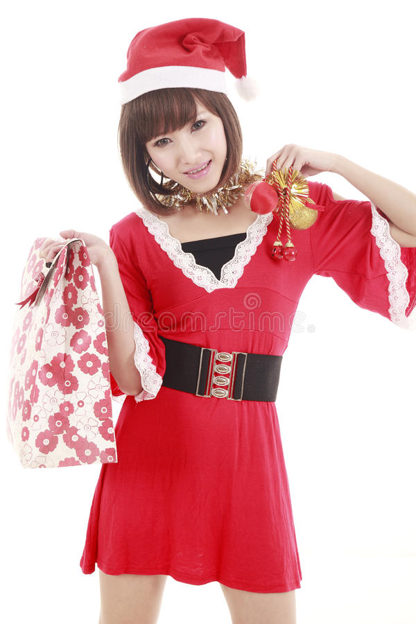 Shopping Santa Girl Royalty Free Stock Photos