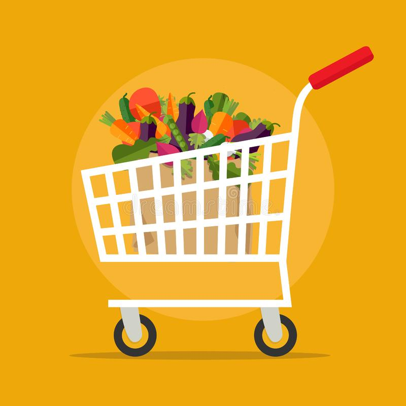 Shopping, shipping and vegan concept isolated on background. Vector. Supermarket shopping cart with fresh vegetables. vector illustration