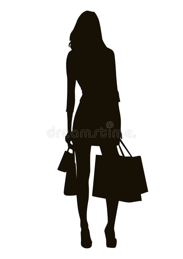 Shopping silhouette. Shopping girl silhouette, vector image