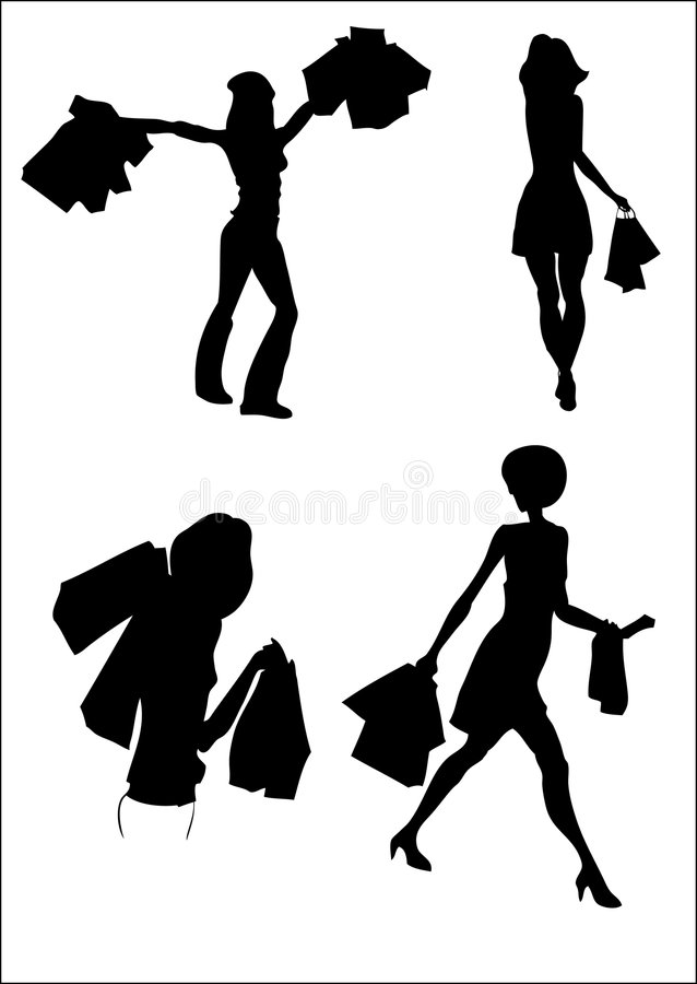 Shopping silhouette royalty free stock image