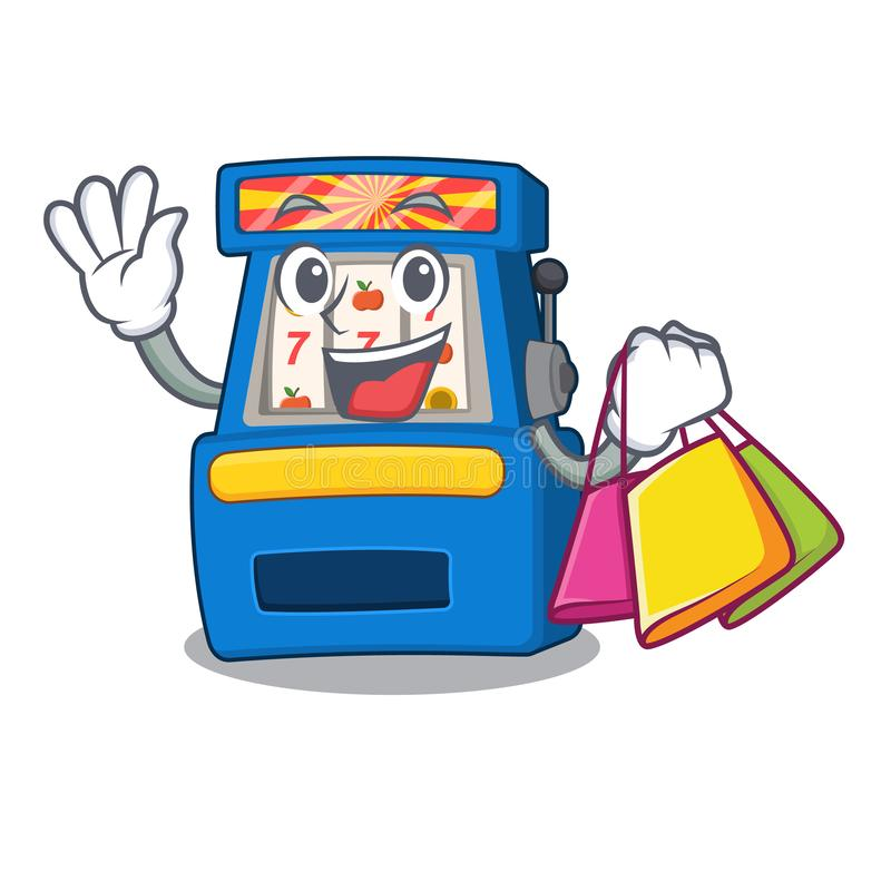 Shopping slot machine isolated in the character. Vector illustration stock illustration