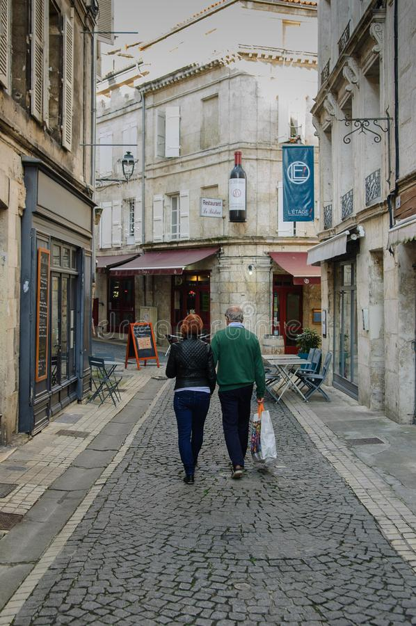 Shopping in small town France stock photos