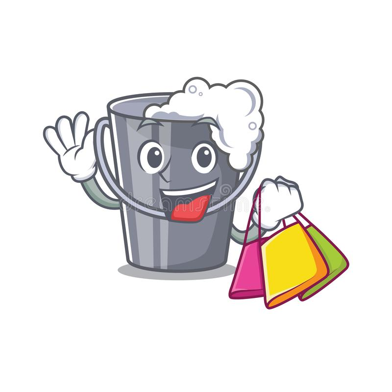 Shopping soapy water in a cartoon bucket royalty free illustration