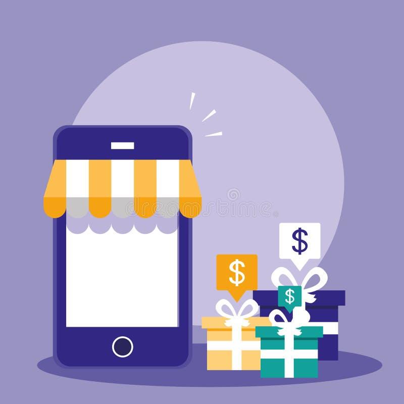 Shopping som är online- med smartphone- och gåvaaskgåva vektor illustrationer