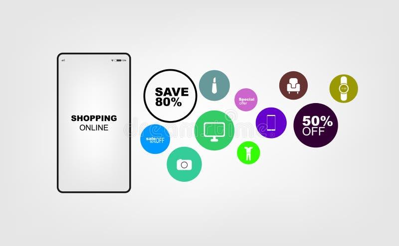Shopping som ?r online- p? websiten eller mobil f?r marknadsf?ring och Digital f?r applikationvektorbegrepp marknadsf?ring ocks?  vektor illustrationer