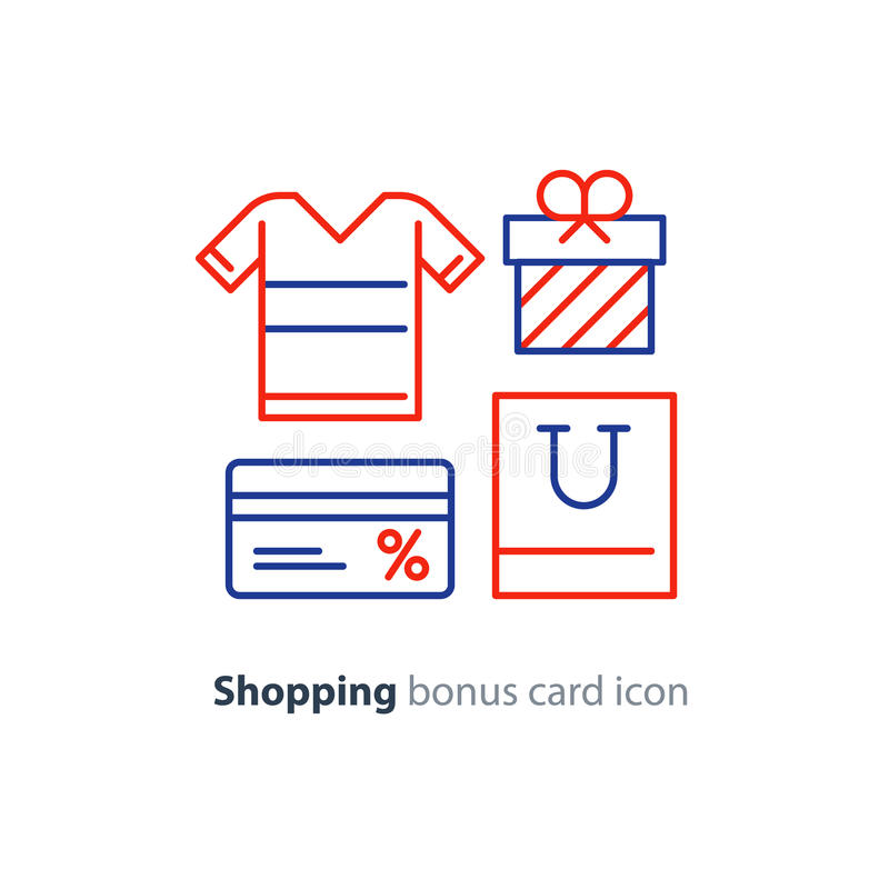 Shopping special offer, bonus card loyalty program concept stock illustration