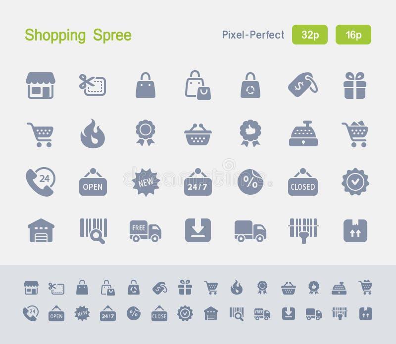Shopping spree | Granietpictogrammen vector illustratie