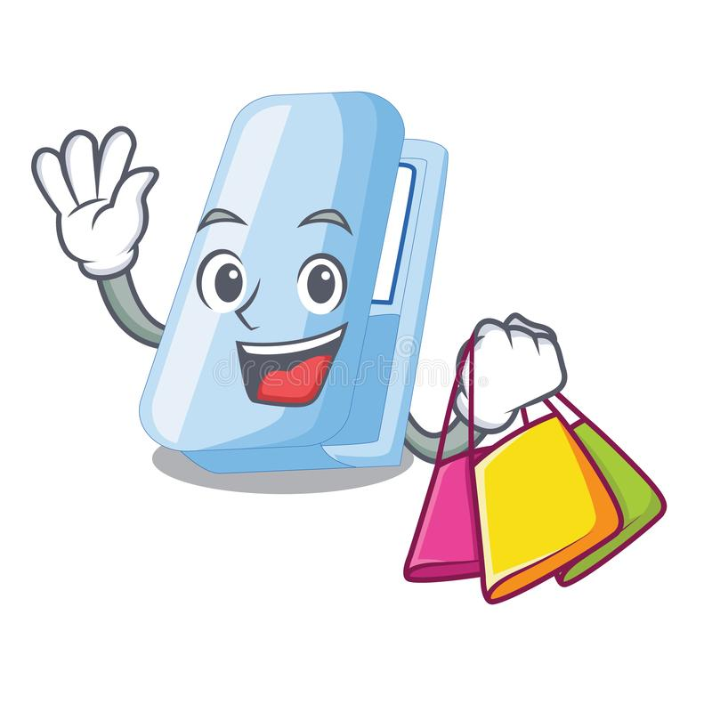 Shopping stapplers in the a character box. Vector illustration stock illustration