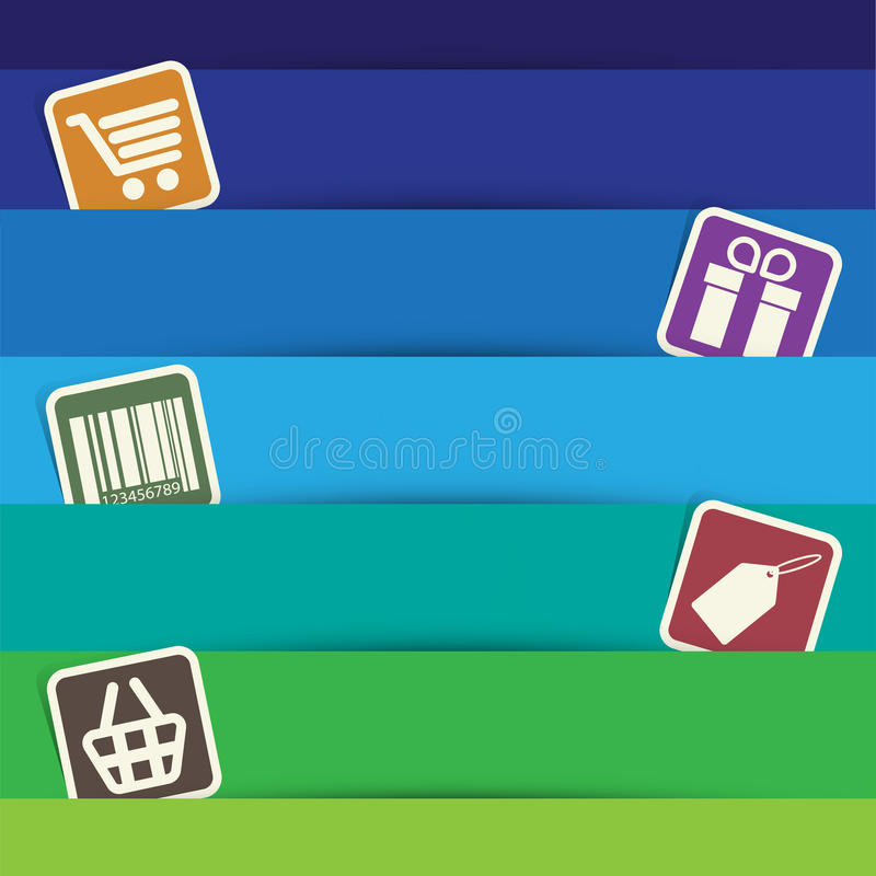 Shopping Sticker Icons Set. Royalty Free Stock Photography