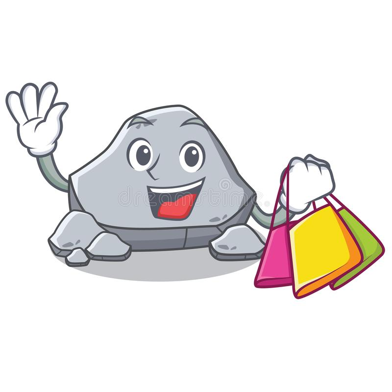 Shopping stone character cartoon style royalty free illustration