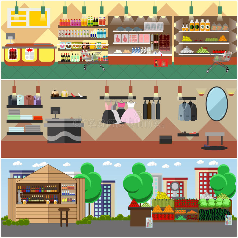 Shopping in a store and local market concept vector banners. Grocery shop, fashion boutique, street bazaar interior. stock illustration