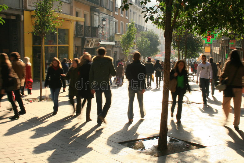 Shopping street. Commercial walking street of Montera in Madrid travelled by thousands of pedestrians daily stock photography