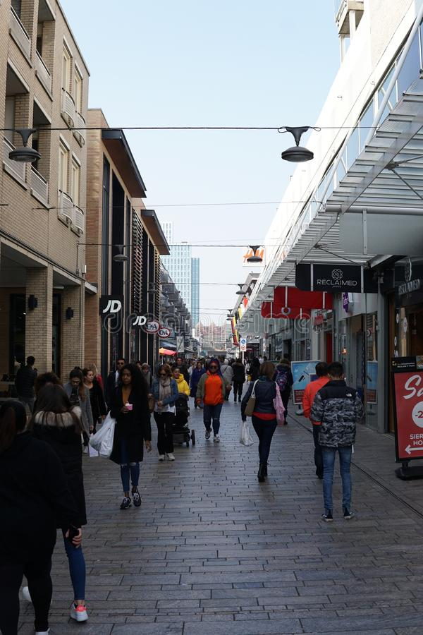 Shopping street in Almere, The Netherlands stock photos