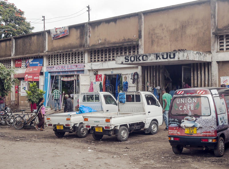 Shopping street in Arusha stock photo