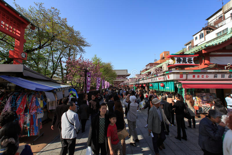 Shopping street Asakusa royalty free stock images