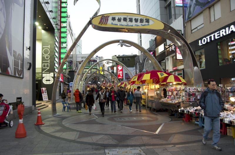 Shopping street busan korea royalty free stock image