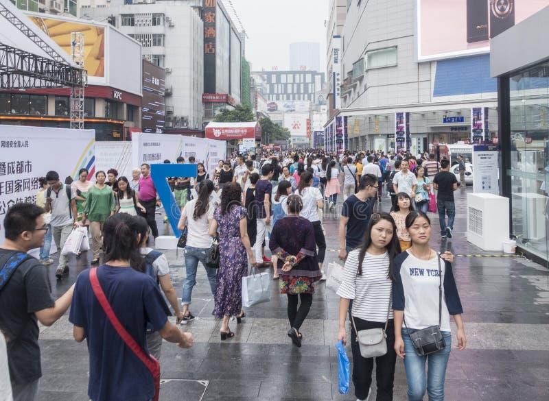 Shopping street .chengdu. Chunxi street,chinese famous business walking street in chengdu royalty free stock photography