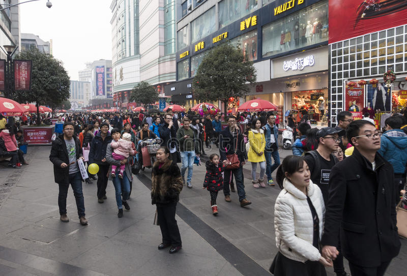 Shopping street .chengdu. Shoppers and visitors crowd at a shopping street ,chunxi street,chinese famous business walking street in chengdu stock photo