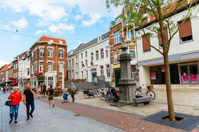 Shopping street in the city center of Roermond, Netherlands. Roermond, Netherlands - August 14, 2018: shopping street in the city center with unidentified people stock photo