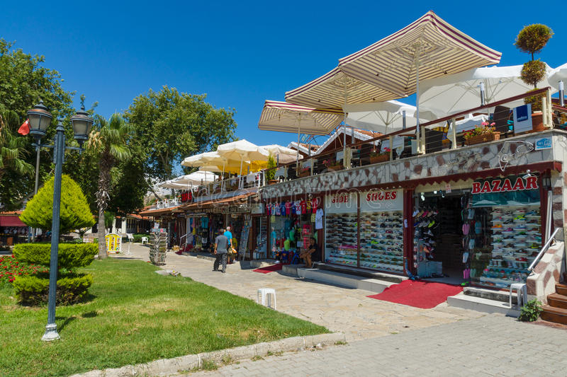 Shopping street in the seaside town royalty free stock image