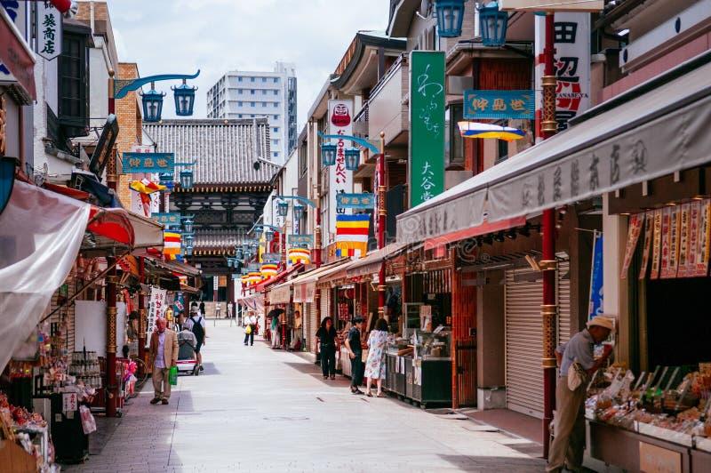 Shopping street and souvenir shops at Kawasaki Daishi Temple, Kawasaki, Japan. JUNE 27, 2014 Kawasaki, Japan : Shopping street and souvenir and dessert shops at royalty free stock photos