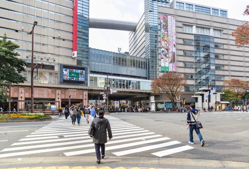 Shopping street in Tenjin area, Fukuoka, Japan stock photos
