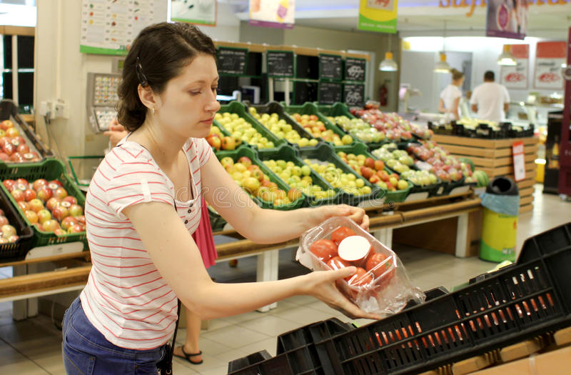 Shopping in supermarket stock image
