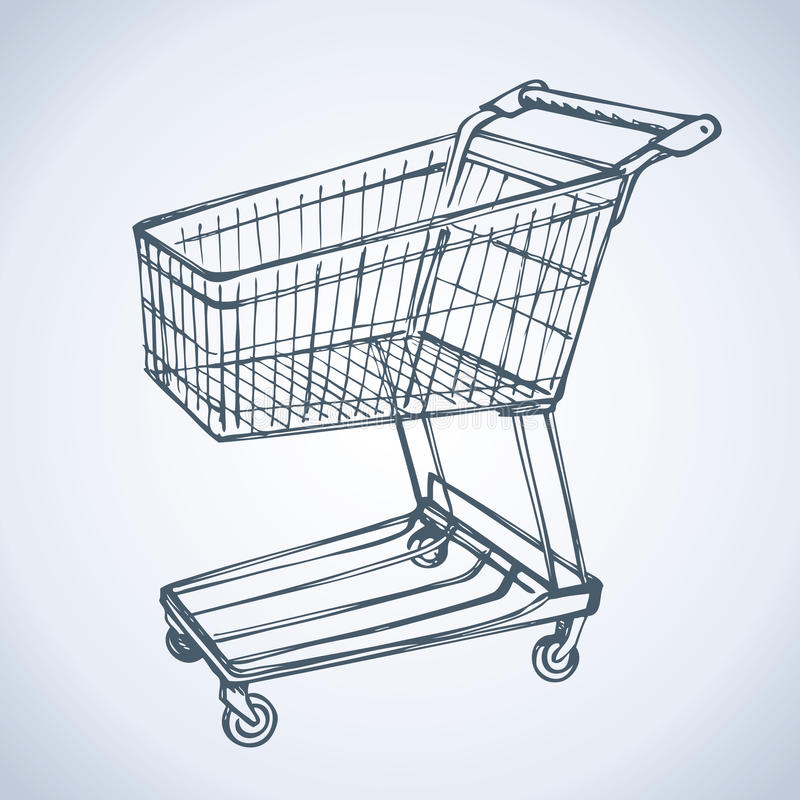 Shopping supermarket cart. Vector sketch. Empty Shopping Cart Trolley Vector in White Background. Vector monochrome freehand linear ink drawn background sketch royalty free illustration