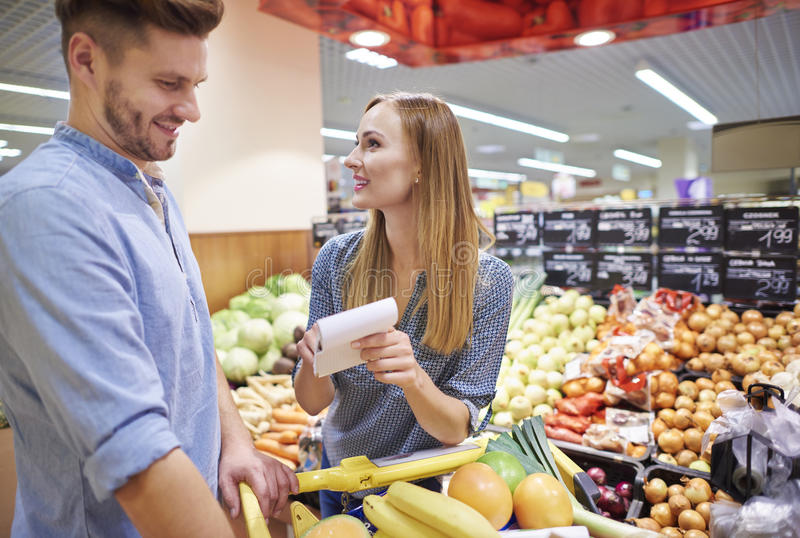 Shopping at the supermarket stock image
