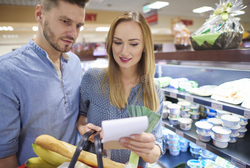 Shopping at the supermarket royalty free stock images