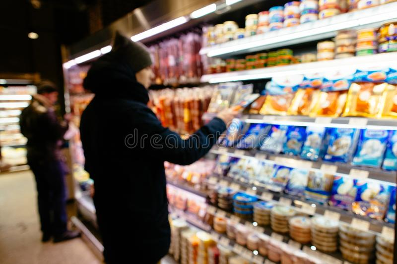Shopping in supermarket. stock photography