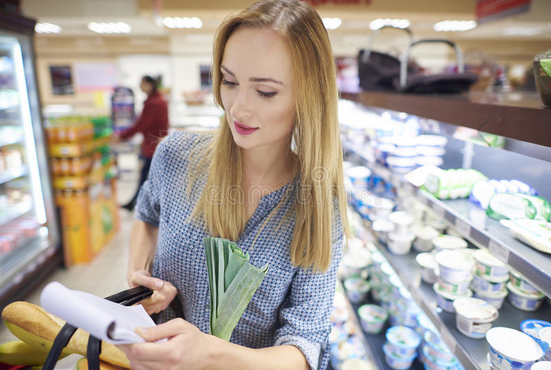 Shopping at the supermarket stock images