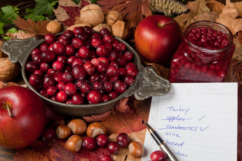 Shopping for thanksgiving. Thanksgiving shopping list with cranberries, apples and nuts stock photography