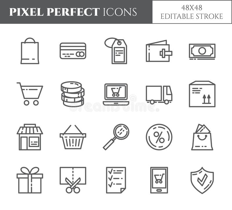 Shopping theme pixel perfect thin line icons. Set of elements of bag, credit card, shop, delivery, cash, wallet, cart, sticker and royalty free illustration